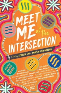 Front cover of Meet Me at the Intersection. Orange background with multiple swirling colours and white star-like images. The title 'Meet Me at the Intersection' is written across the top half in a white font.